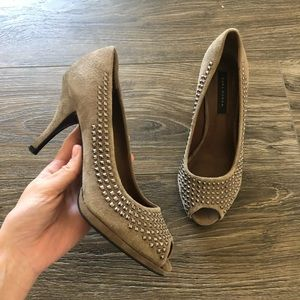 Zara Studded Peep Toe Suede Heels